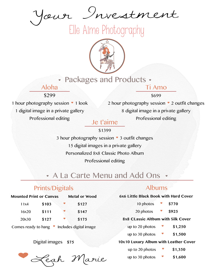 Elle Aime Photography Packages